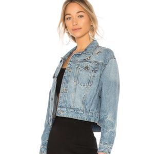 NEW JOIE Cropped Denim Jacket Light Blue Sz S